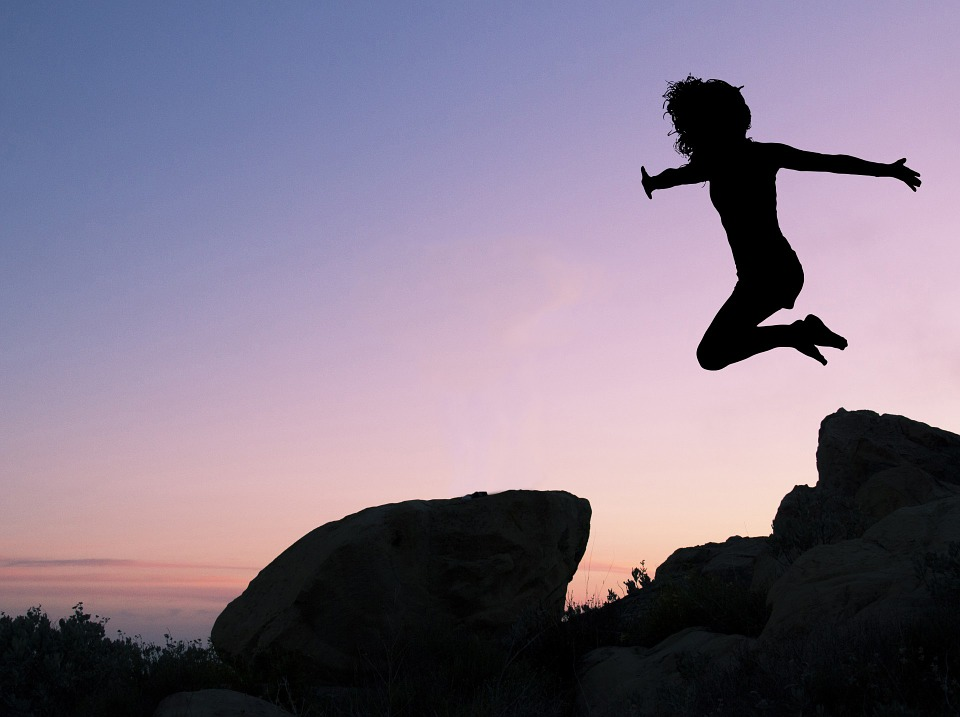Girl, Leaping, Rock, Girl Leaping Off Rock, Silhouette
