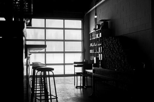 Bar, Stools, Garage, Black And White