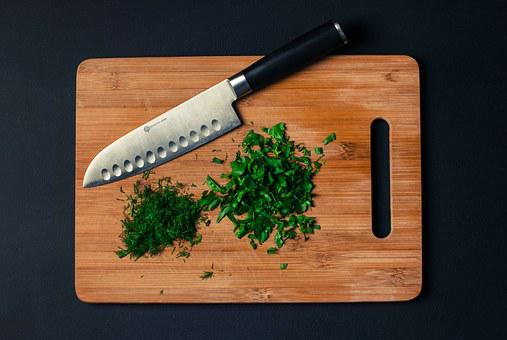 Cutting Board, Knife, Chopped, Parsley