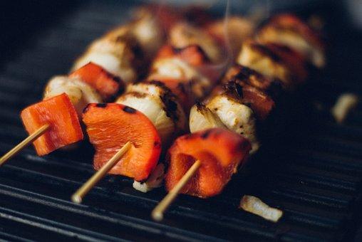 串焼き, 串, 肉, 赤ピーマン, 野菜, バーベキュー, グリル, 夕食
