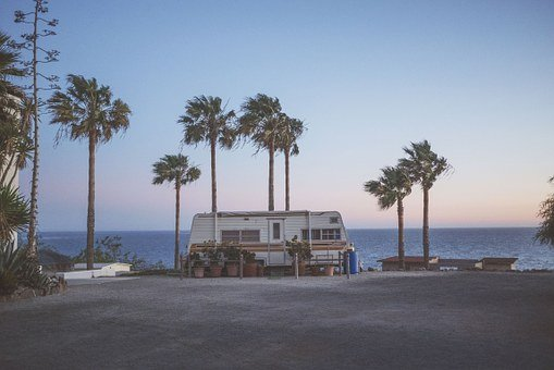 Rv, Camper, Palm Trees, Summer, Ocean