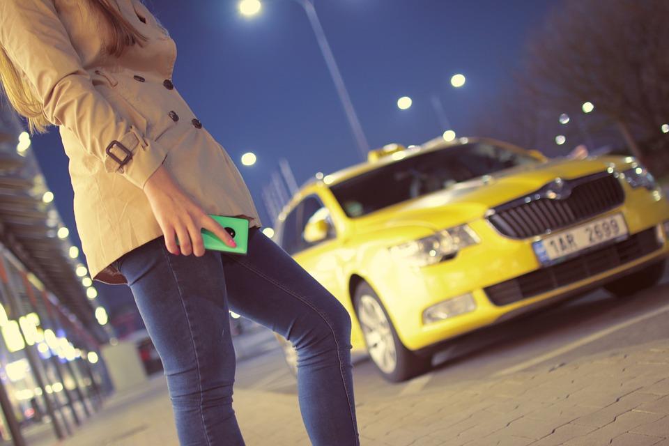 Waiting, Taxi, Cab, Yellow, Girl, Woman, People