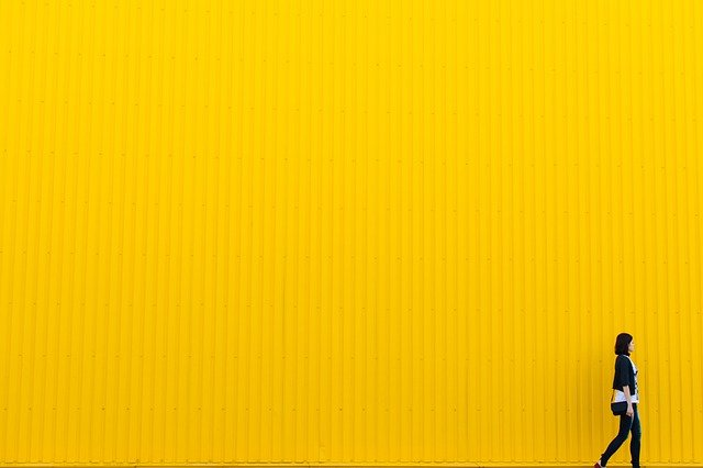 Yellow, Wall, Girl, Woman, People, Hipster, Person