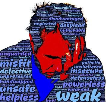 欠陥のあります, 無力, 弱い, 無防備, 安全でないです, 恥ずかしい