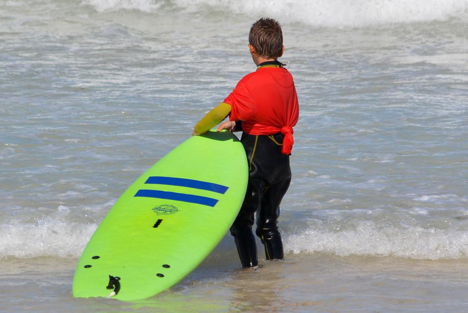 子, 人々, 少年, サーフ, サーフボード, チャレンジ, スポーツ, 波, 海