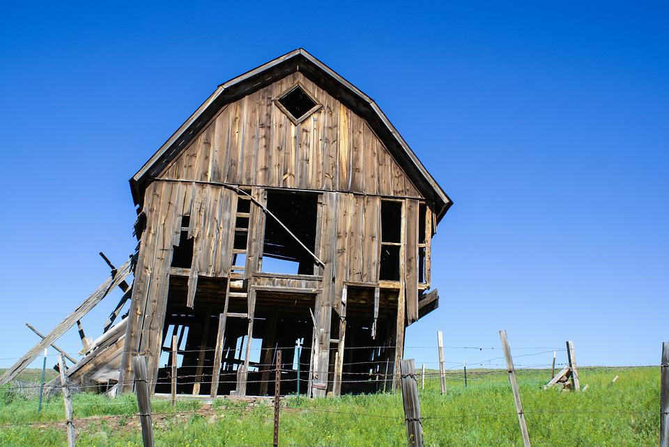 Old Barn, Prairie, Rustic, Wood, Landscape, Weathered