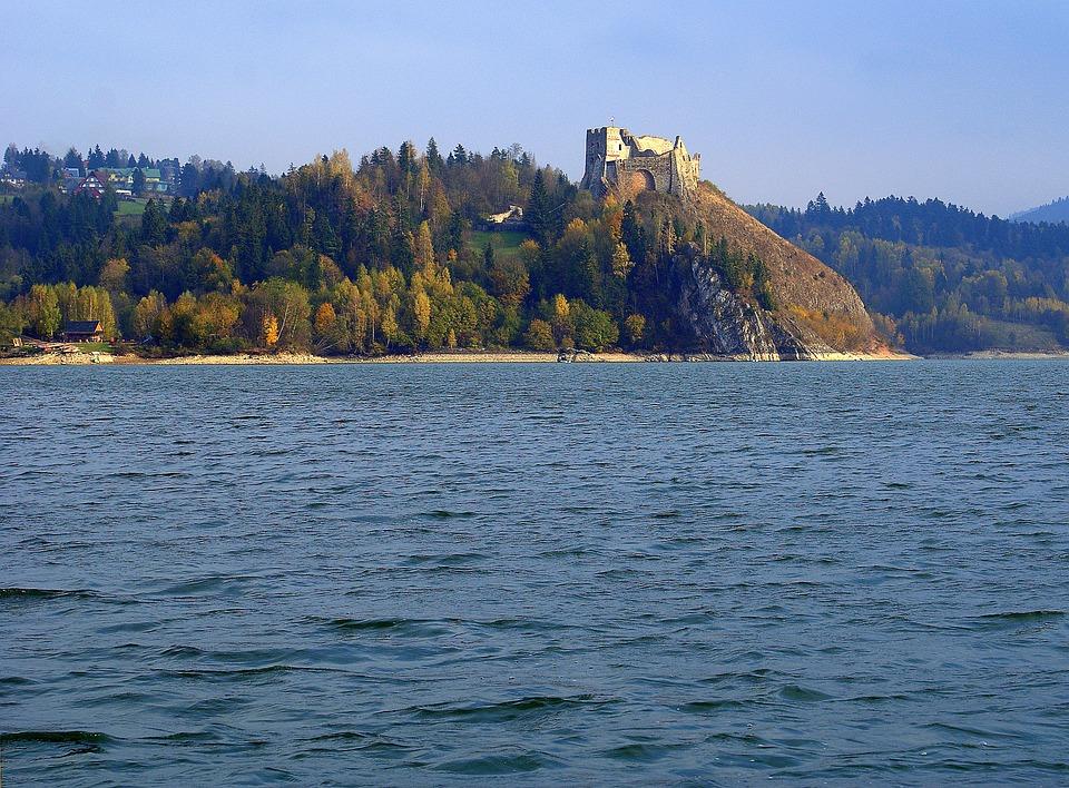 Zamek Czorsztyn, Ruiny, Czorsztyn, Woda, Jezioro