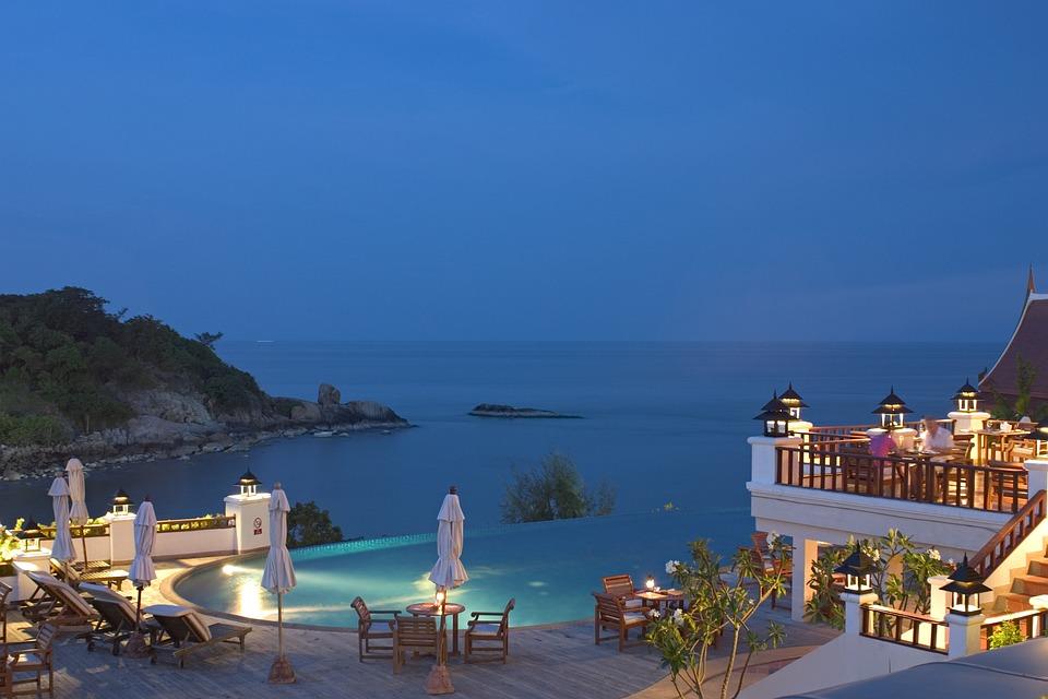 Hotel, Piscina, Mar, Anochecer, Agua, Azul, Relax