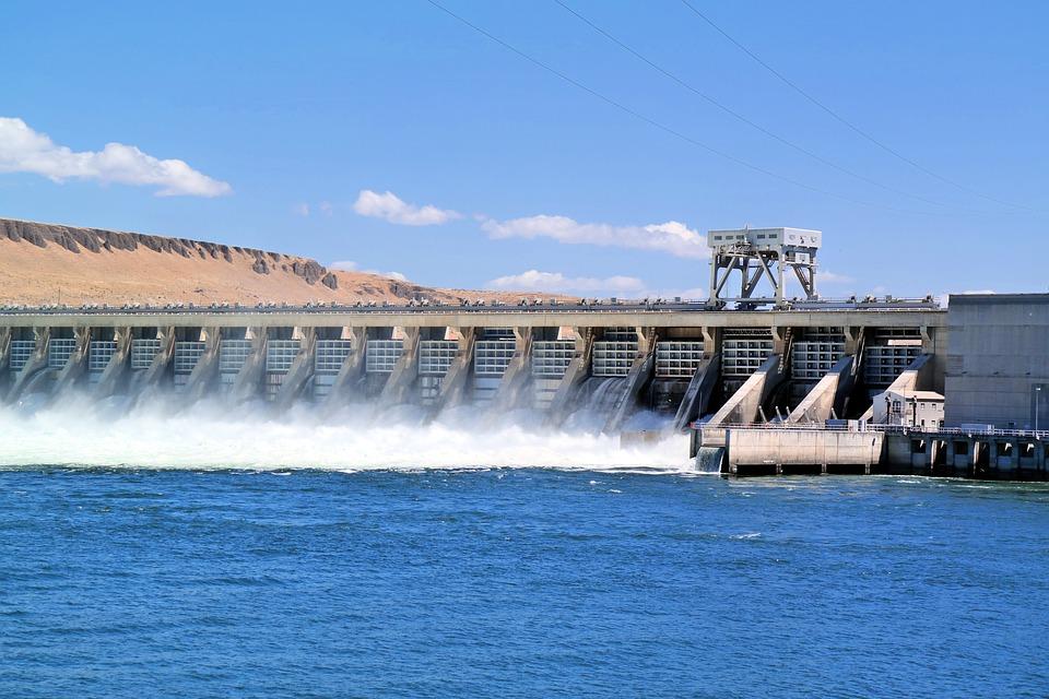 ダム, 川, 水, 風景, 電源, 水力発電の, 緑, 風光明媚な, 環境, 電気, エネルギー
