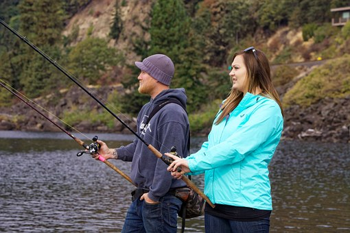 Anglers Fishing Salmon Man Woman Couple Ho