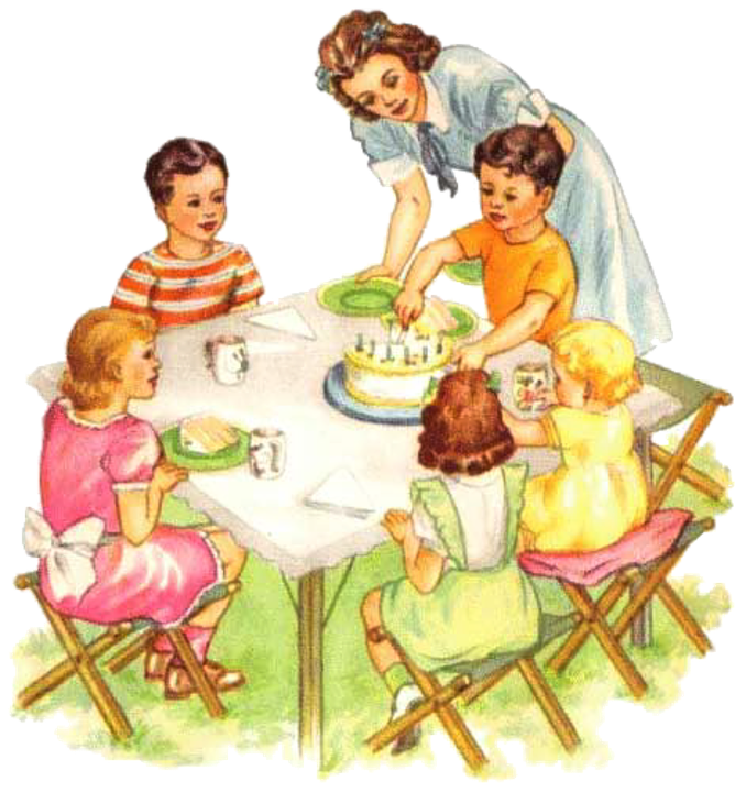 Vintage Picnic Children Birthday Party  C B Public Domain