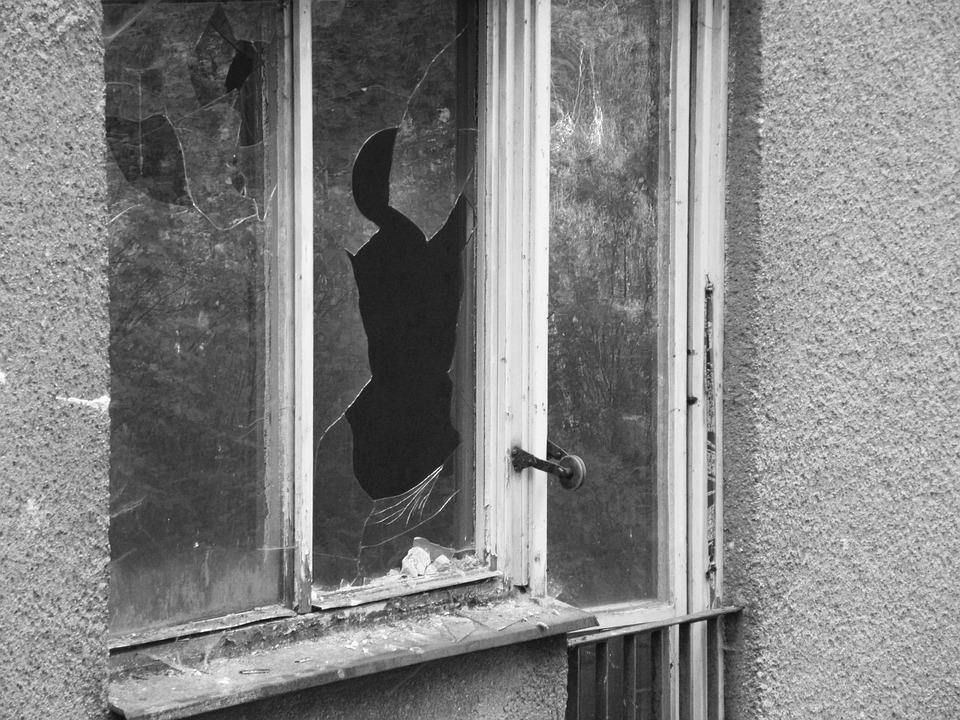 Broken Glass Window Broken Glass Crack Hole