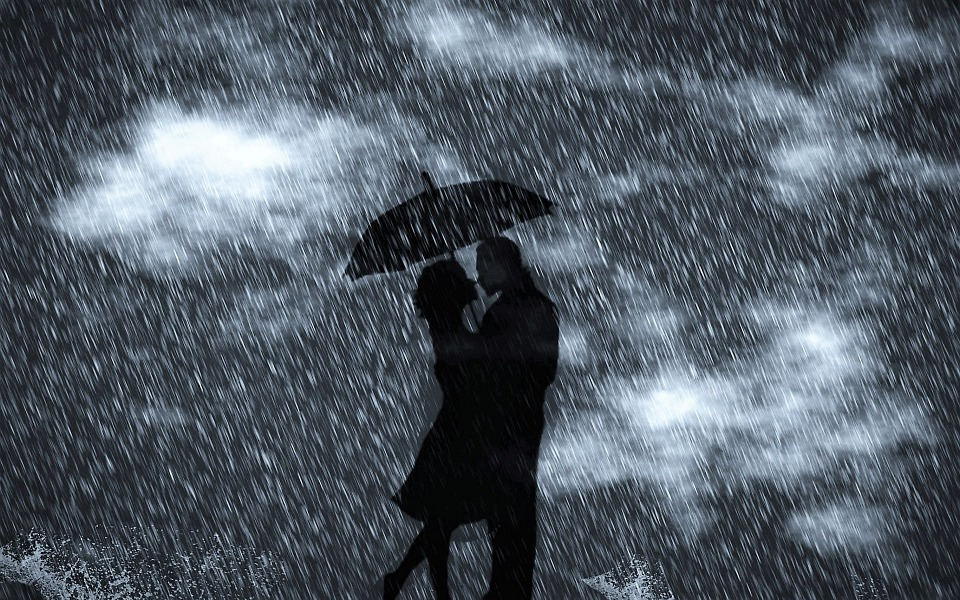 Free Illustration: Rain, Man, Woman, Clouds, Lovers