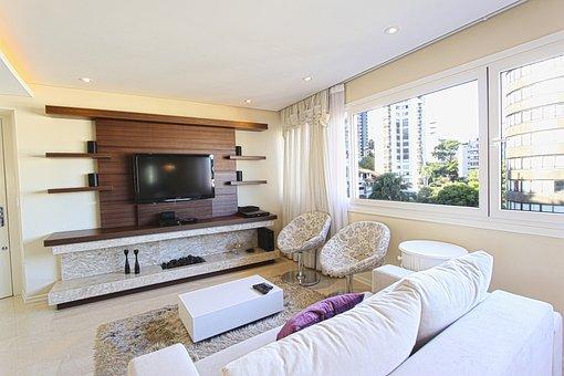 荷物, 装飾, ソファ, アパート, 近代的なアパート, サロン, モダンな内装