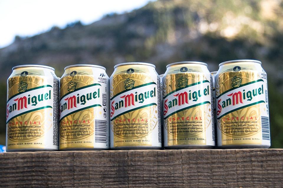 缶、ビール、飲み物、サンミゲル、缶ビール