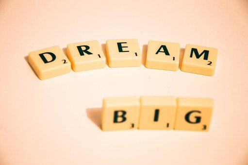 An image with scrabbles on which are the words DREAM BIG for 301 inspirational and motivational quotes