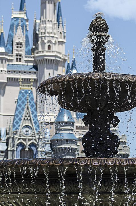 泉, ディズニー ・ ワールド, 魔法の王国, 城, 遊園地, ディズニー, 休日, 子供たちの楽しみ, 夏