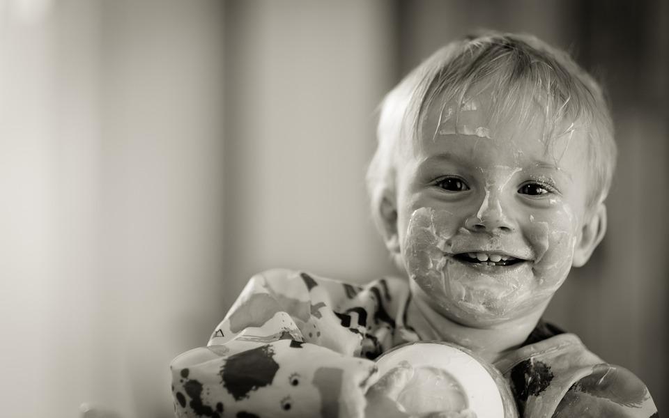 Child, Yogurt, Eating, Kid, Boy, Happy, Messy