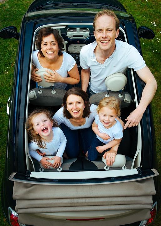 家族, 人, 車, 探している, 子供, 男, 女性, グループ, 一緒に, 幸福, 一体感, 笑い