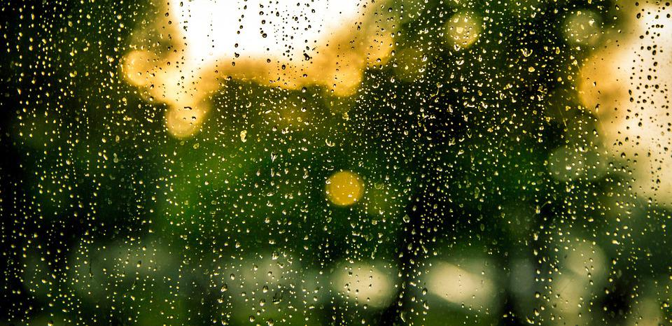 raindrops in the foreground, vague green and yellow shapes in the background blurred by the rain
