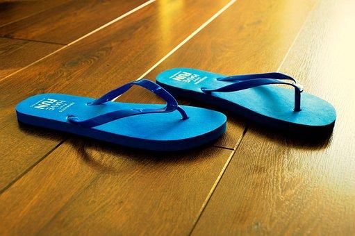 Flip Flops, Summer, Blue, Beach, Sandal