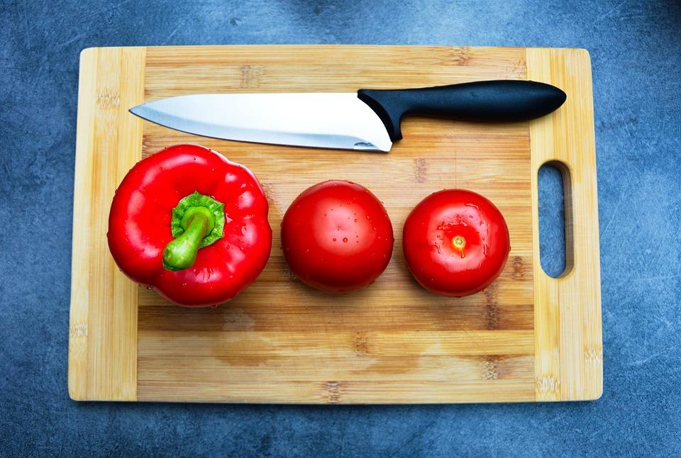 Pepper, Tomatoes, Cutting Board, Knife