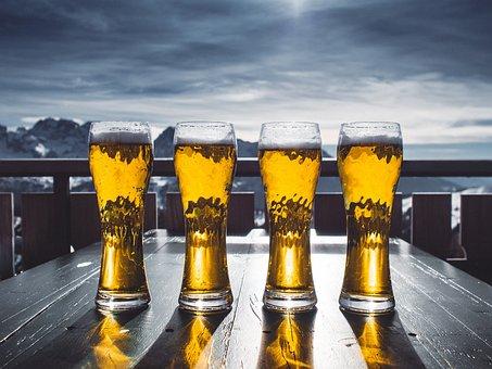 Beer, Glass, Table, Sky, Mountains, Ski