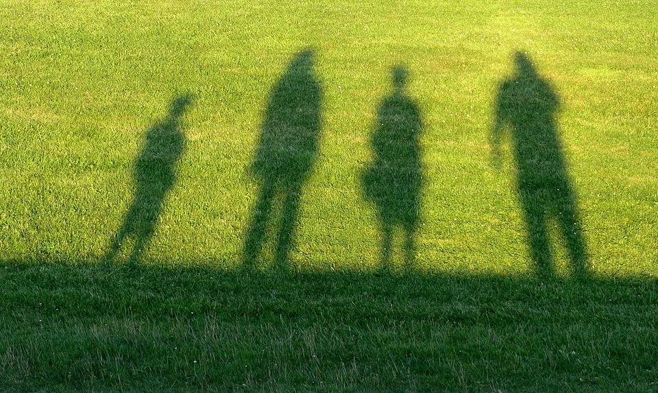 旅行, 家族, 輪郭, 影, 男, 女性, 子, 若い女の子, 休日, 草, 一緒に, 人間, 光と影, 自然