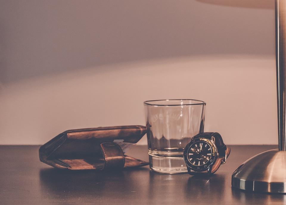 Glass, Wallet, Watch, Bedside Table, Lamp, Belongings