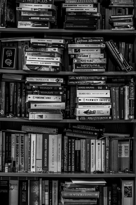 Books Bookshelf Library Black And White School