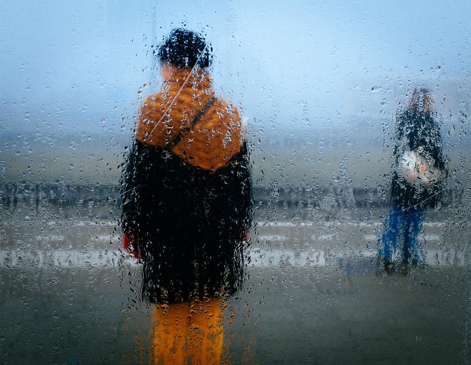 Persone, Pioggia, Meteo, Attraverso, Finestra, Goccia