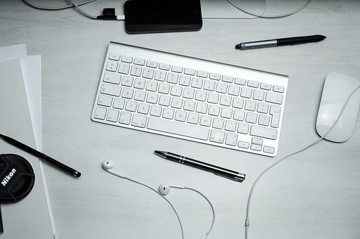 Keyboard, Mouse, Pens, Workspace