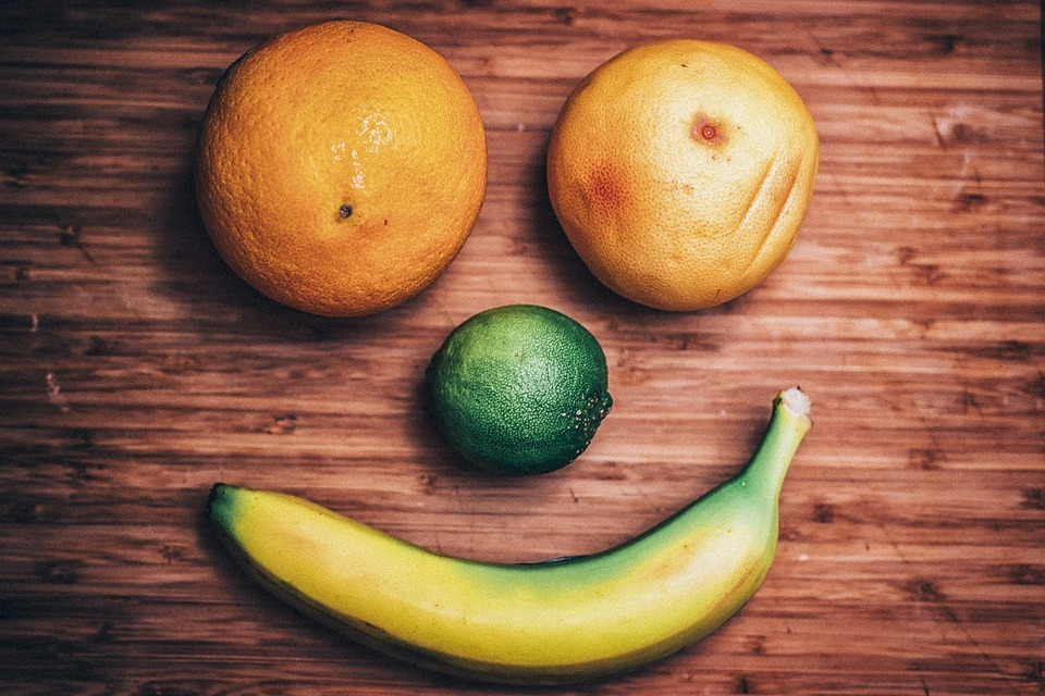 Fruit, Smiley Face, Food, Banana, Oranges, Avocado
