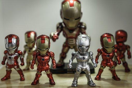 鉄の男, スーパー ヒーロー, おもちゃ, 数字, 再生