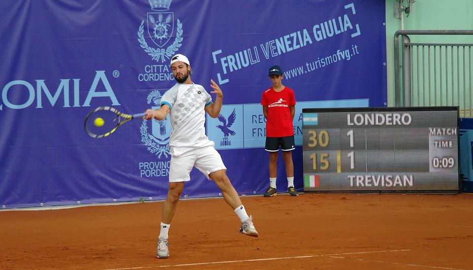 テニス プレーヤー, フォアハンド, トーナメント, テニスコート, 屋外, ヒット, 一致