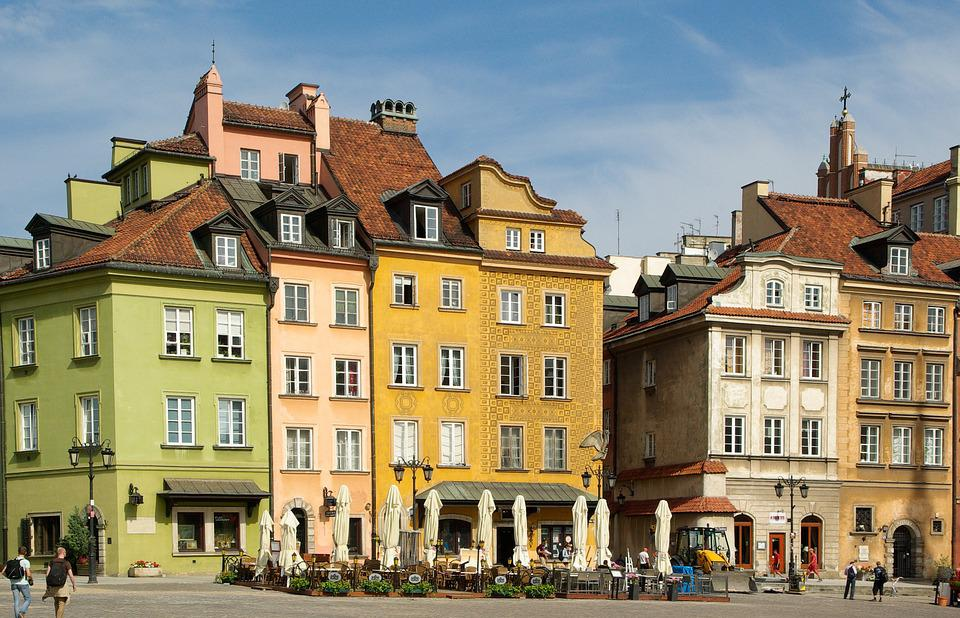 Poland, Warsaw, Old Town, Facades, Architecture