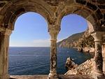 window, sea, column
