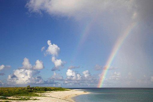 虹, ビーチ, 風光明媚な, 夏, 海, 砂, 青, 水, 空, 自然, 虹の空