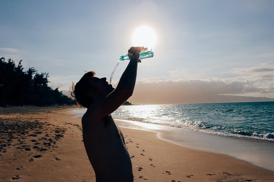 Man, Male, Drinking, Water, Beach, Ocean, Hot, Day