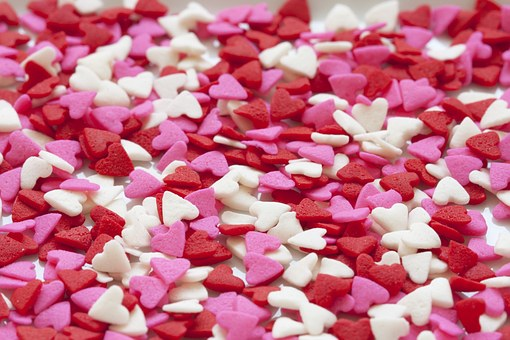 Hearts, Background, Red, Pink, White