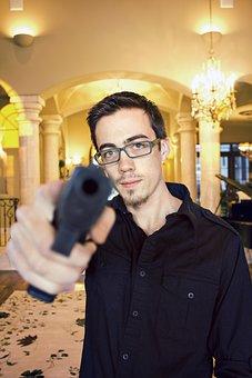 Gun, Home, House, Gunpoint, Person, Male