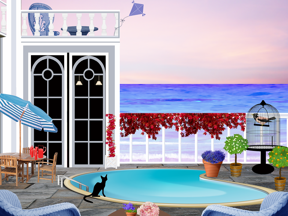 Patio, Swimming Pool, Seaside, Parasol