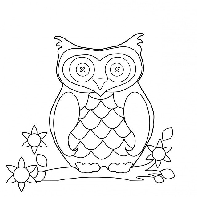 retro owl coloring pages | Owl Colouring Page · Free image on Pixabay