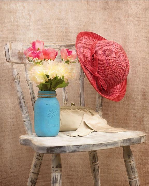Vintage, Sombrero, Flores, Estilo, Silla, Moda Vintage