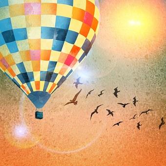 Ballons, Colorful, Sun, Sky, Flying