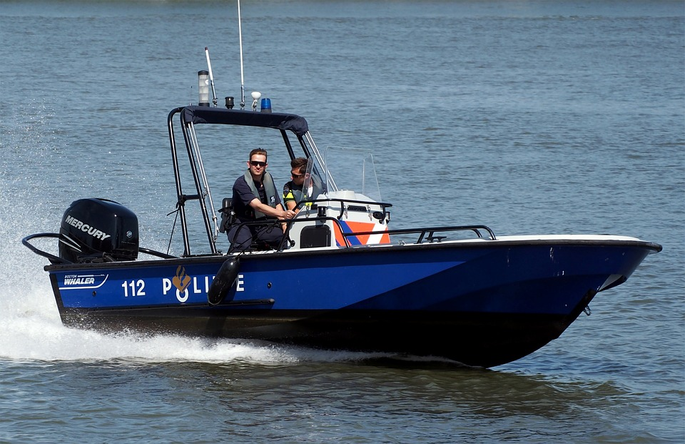 スピード ボート, 警察, ボート, 水, 速度, セキュリティ, 海, パトロール, 容器, トランスポート