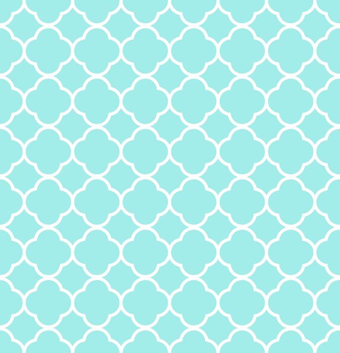 Quatrefoil Pattern Blue White Aqua Design