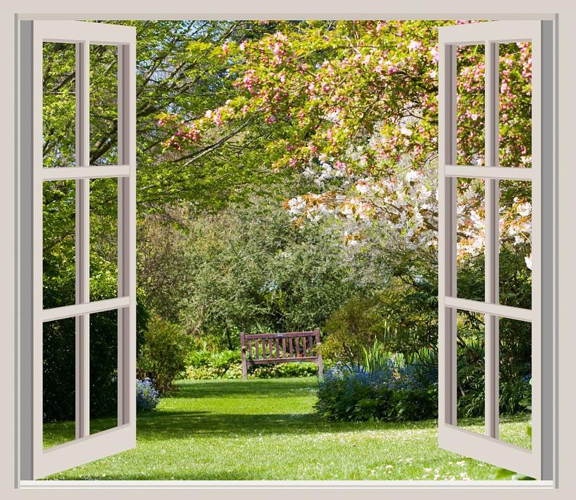 Illustration gratuite printemps jardin vue fen tre for Fenetre ouverte sur paysage