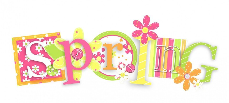 Spring, Text, Word, Floral, Flowers, Colourful, Season