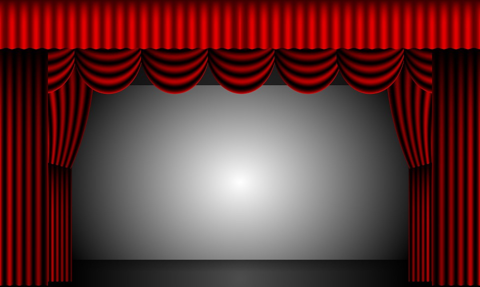 Theatre Curtains Stage Drapes Velvet Red Backdrop